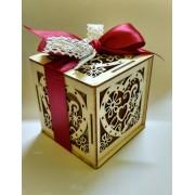 Bomboniera miele in box legno cuore